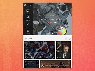 Comic Reader & Explorer Tablet App comic graphic novel reader dashboard app ipad tablet ui user interface