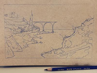 Coastal Place sketch drawing journal rough process analog blue wip