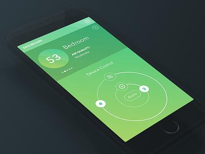 Air Quality Analytics 2 ios mobile minimal gradient simple dashboard control graph health ui ux