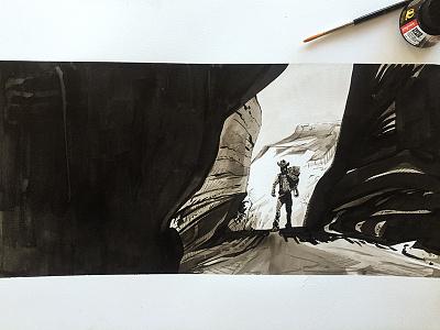Slot Canyon Cowyboy practice watercolor canyon cowboy painting drawing brush ink inktober