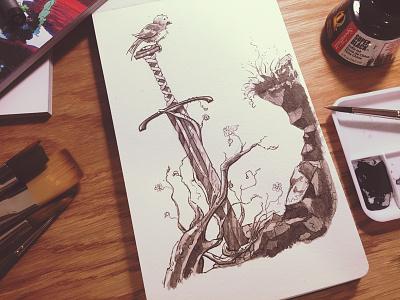 Sword Doodle master-sword masamune watercolor hand-drawn analog ink bird excalibur doodle sword