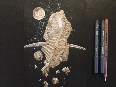 Orbital Gateway space scifi white charcoal ink tone paper journal drawing
