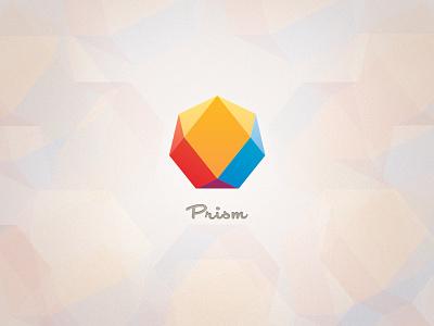 Prism Logo logo branding prism colorful light yellow polygon primary contemporary blue script jewel simple minimalist modern red heptagon geometric symmetric icon