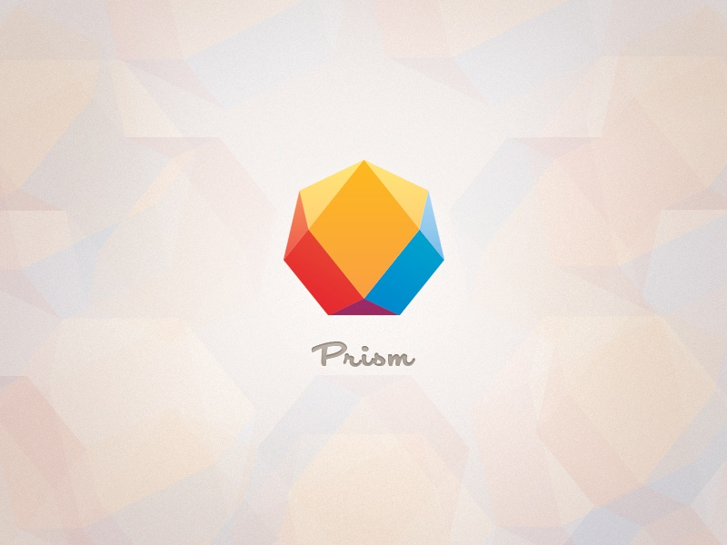 Prism Logo logo branding prism colorful light yellow polygon primary contemporary blue script jewel simple minimalist modern red heptagon geometric symmetric icon