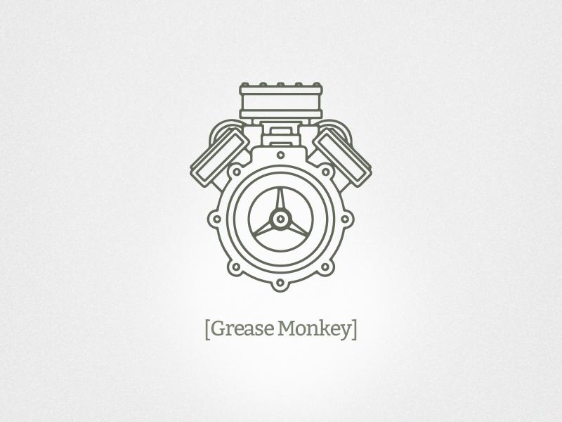 Grease Monkey Branding engine branding logo identity light mechanic mechanical motor outline vector line art icon