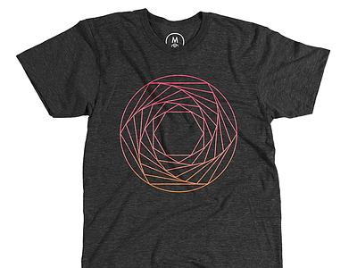 Aperture Spiral shirt cotton bureau geometric lines hexagons circle gradient