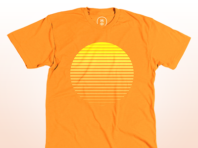 Sunrise orange t-shirt sun sol gradient