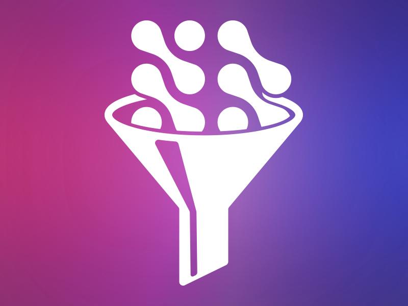 Filtered Jobs logomark branding icon logo dots filter funnel