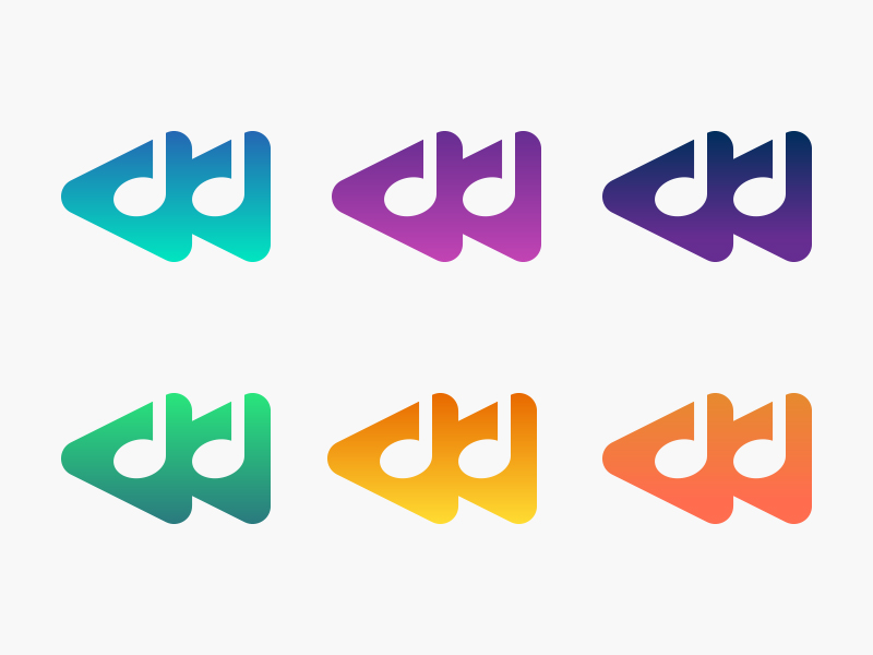 PressRewind play branding logo icon music note music color gradient