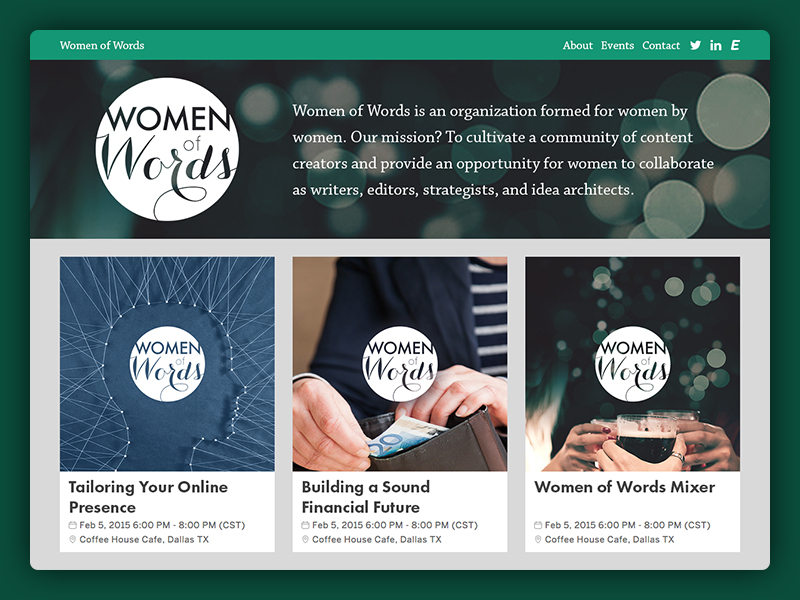 Women of Words Event Site Mockup design web