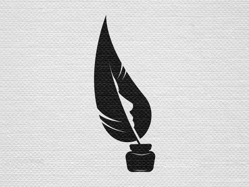 Quill for Women of Words branding quill inkwell ink negative space logo