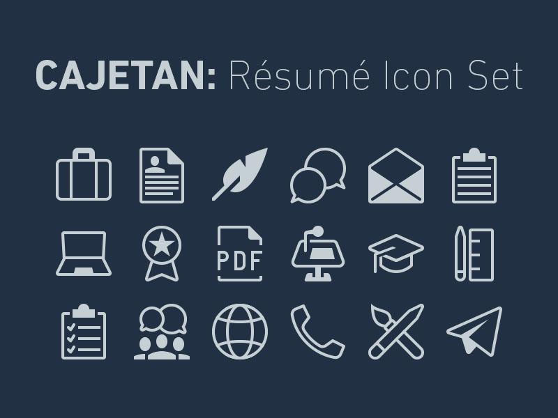 Icon Set for Résumés download portfolio resume icon