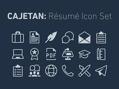 Icon Set for Résumés icons download portfolio resume icon