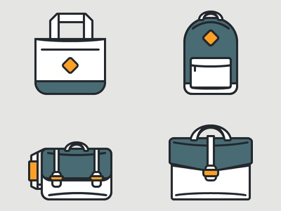 Personal Bags icons breifcase tote backpack messenger bag