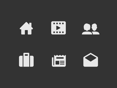 Agency Navigation team about friends contact home news portfolio agency wayfinding icons
