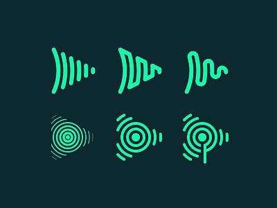 SubscribeFM Brand Exploration icons podcasting podcast soundwave waveform broadcast audio icon logo branding