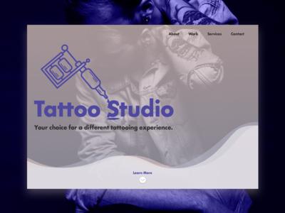 Tattoo Studio Concept bold purple header concept tatto