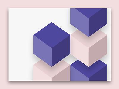 Cube cube purple geometry