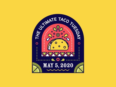 Taco Tuesday Badge badge series tacos flowers lime taco illustration badge design badge cinco de mayo 5 may 5 taco tuesday