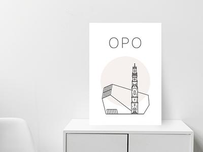 Oporto poster brown minimal poster city casa da musica music house porto oporto