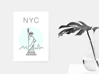New York poster minimal white green statue liberty poster nyc new york