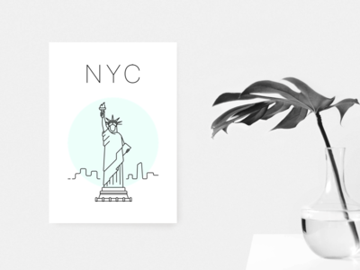 New York poster minimal white green statue liberty poster nyc new york