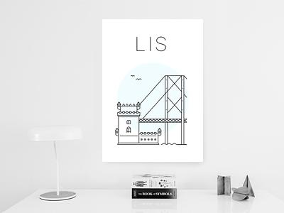 Lisbon poster lisbon white minimal blue tower belém bridget poster