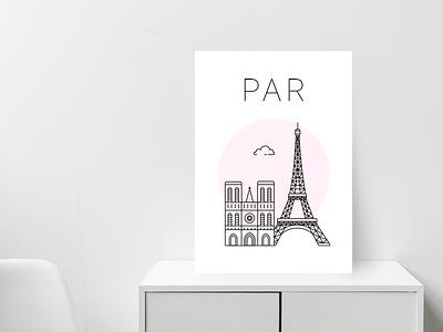 Paris poster pink white notre dame eiffel tower minimal city poster paris