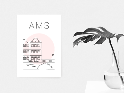 Amsterdam poster minimal print red canals netherlands poster amsterdam