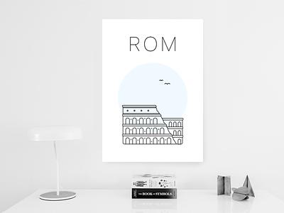 Rome poster print poster minimalist blue colosseum rome