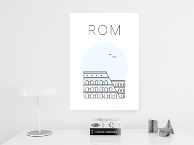Rome poster print poster minimalist blue colosseum rome