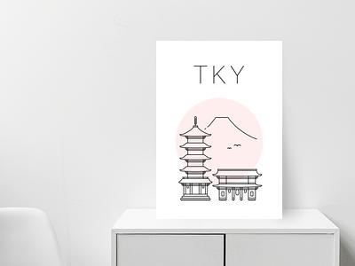 Tokyo poster minimalist print poster asian red temple senso ji japan tokyo