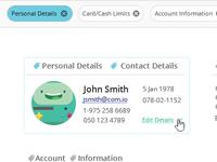 Account Details Card Design