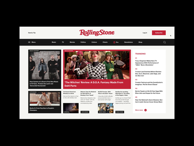 Rolling Stone Magazine Redesign Concept newsfeed uiux ui desktop web design scroll menu design menu newspaper news magazine inspiration typography concept webdesign animation