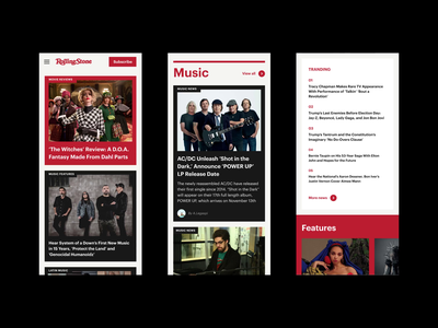 Rolling Stone Magazine Redesign Concept newsfeed ui concept typography magazine news newspaper web design mobile design