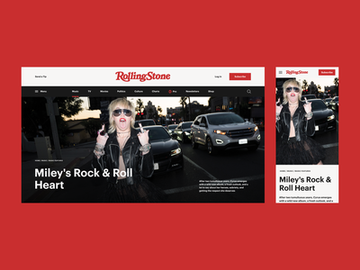 Rolling Stone Magazine Redesign Concept newsfeed web design mobile desktop article design article page article magazine newspaper concept typo webdesign