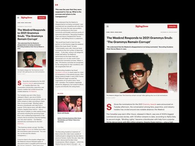 Rolling Stone Magazine Redesign Concept news newsfeed newspaper magazine web design article design article page article mobile typo typography webdesign concept