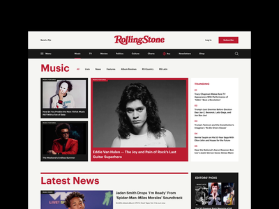 Rolling Stone Magazine Redesign Concept concept typography cards ui ui uiux newspaper magazine newsfeed news webdesign web design desktop