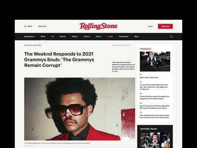 Rolling Stone Magazine Redesign Concept figma web design webdesign concept typography typo newsfeed news magazine article page article animation