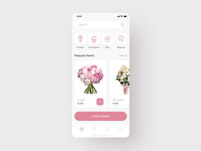 Flowers Delivery App Design mobile app uidesign flower shop app design mobile animation