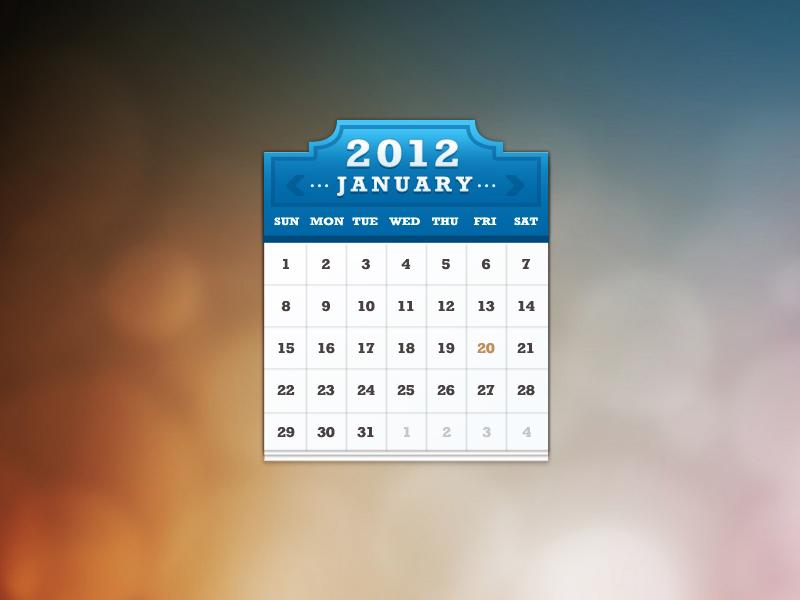 Calendar widget by Mike Sierra on Dribbble