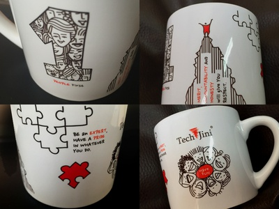 Customized Cup Art with TJ Principles line art drawing sketches techjini principles coffee cup