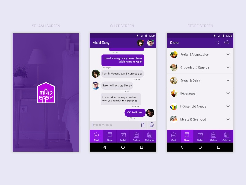 Chat App Screens store android app easy chat maid