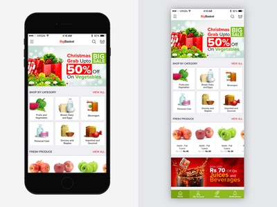 Bigbasket App Redesign mobile app banner ios shopping grocery