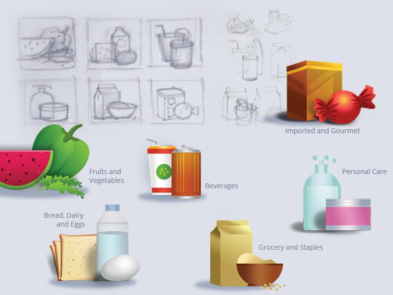 Illustrations sketches grocery beveages e-commerce shopping vegetables