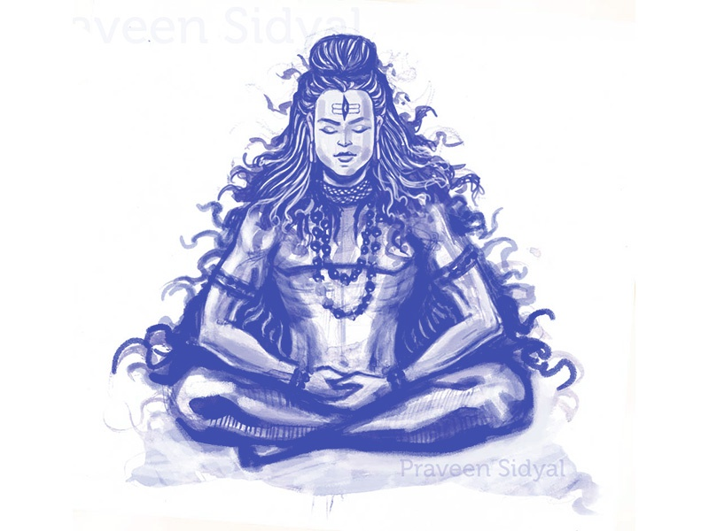 Lord Shiva yoga meditation god lord drawing painting sketch shiva
