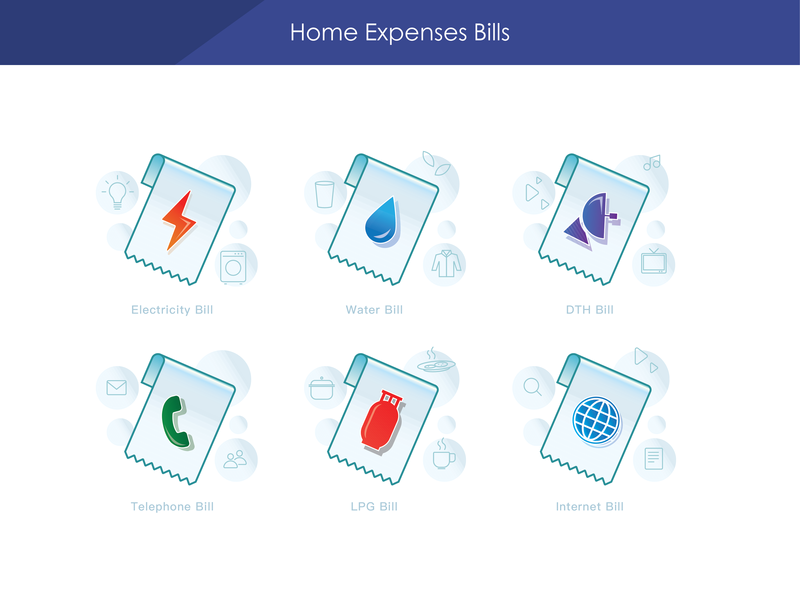 Home Expenses Bills water electricity telephone internet dth bill bills expenses
