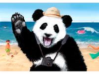 Tourist-panda. Vacation illustration.