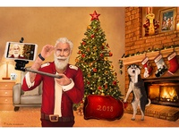 Selfie Santa. New Year. Christmas. Husky.