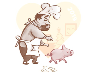 The Chef in love with funky pig symbol of new year 2019